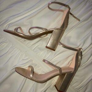 Lulu's Champagne Sandal Block Heels